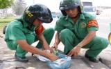 Đội An toàn giao thông và dịch vụ công ích mỗi ngày thu gom gần 1 kg đinh trên Quốc lộ 13
