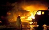 Xe hàng của NATO bị đốt cháy
