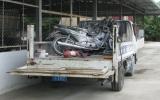 3 xe máy bốc cháy dữ dội trên xe chuyên dụng của CSGT