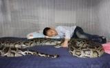Cậu bé ăn ngủ với trăn