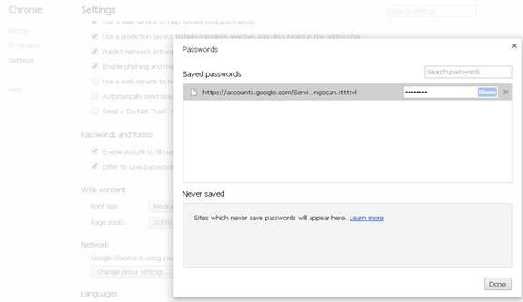 Bảo vệ mật khẩu đã lưu trong Google Chrome