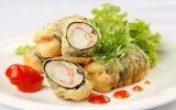 Cá ba sa cuộn rong biển chiên giòn