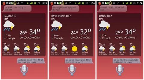 Giao diện trợ lý ảo bằng tiếng Việt trên smartphone, với câu hỏi và trả lời đều bằng tiếng Việt