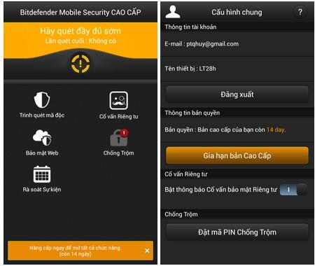 Bản quyền miễn phí ứng dụng bảo mật cho Android của BitDefender