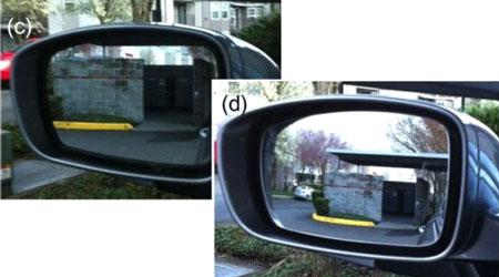 Cách chỉnh gương thông thường sẽ khiến xe màu lam chỉ nhìn thấy xe màu xanh lá cây