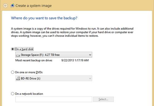 Tính năng System Image Backup có sẵn trong Windows 8 cho phép tạo ảnh phân vùng hệ thống.