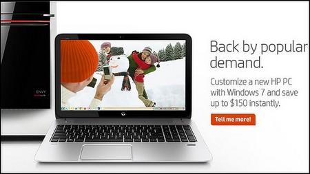 Hình ảnh quảng cáo cho máy tính chạy Windows 7 của HP