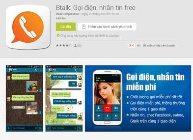 Giao diện ứng dụng Btalk trên gian hàng Google Play.