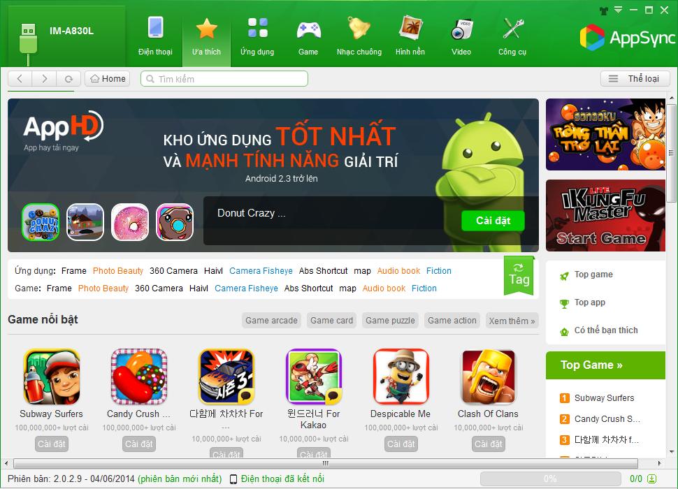 Giao diện tiếng Việt dễ hiểu và chuyên nghiệp của AppSync