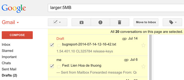 6 cách nhanh chóng dọn dẹp không gian lưu trữ cho Gmail