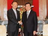 Chủ tịch nước Trương Tấn Sang tiếp Ủy viên Quốc vụ Trung Quốc