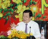 Chủ tịch nước Trương Tấn Sang thăm và chúc tết tại tỉnh Bình Dương