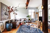Không gian nhẹ nhàng của căn nhà màu xanh