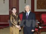 Tổng Bí thư tiếp Đoàn đại biểu cấp cao Đảng Nhân dân Campuchia