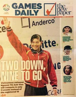 Hình ảnh Ánh Viên trên trang bìa tờ báo The New Paper của Singapore