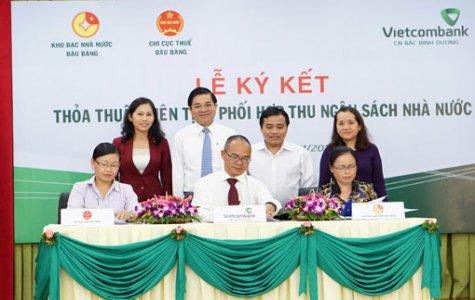 Vietcombank Bắc Bình Dương: Ký kết phối hợp thu ngân sách nhà nước tại huyện Bàu Bàng