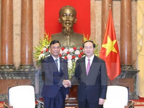 Chủ tịch nước Trần Đại Quang tiếp Bộ trưởng Bộ Nội vụ Myanmar