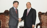 越南政府总理阮春福会见韩联社社长朴鲁晃