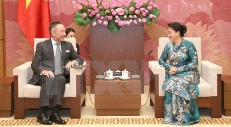 越南国会主席阮氏金银会见捷克新任驻越南大使