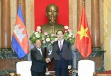 Chủ tịch nước Trần Đại Quang tiếp Chủ tịch Quốc hội Campuchia