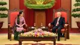 越共中央总书记阮富仲会见缅甸国家顾问兼外交部长昂山素季