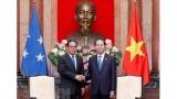 越南国家主席陈大光会见密克罗尼西亚联邦国会议长威斯利•西米纳