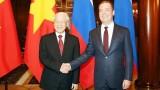 越共中央总书记阮富仲会见俄罗斯总理德米特里•梅德韦杰夫