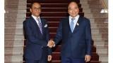 越南政府总理阮春福会见东帝汶外交与合作部部长迪奥尼西奥·科斯塔·巴博·苏亚雷斯