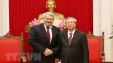 越共中央书记处常务书记陈国旺会见捷克和摩拉维亚共产党主席菲利普