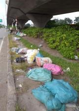 Gầm cầu vượt thành nơi... vứt rác!