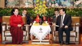 越南国会主席阮氏金银会见中国江苏省委书记娄勤俭