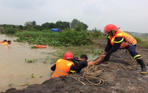 Xã Thanh An, huyện Dầu Tiếng diễn tập cứu nạn trong mưa bão