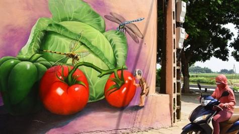 美丽壁画为红河岸边农业小村换上新颜