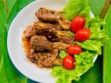 Bò cuộn nấm kim châm sốt xì dầu