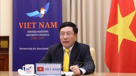 越南政府副总理兼外交部长范平明出席联合国安理会视频首脑会议