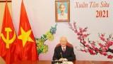 越共中央总书记、国家主席阮富仲与老挝人民革命党中央总书记通伦·西苏里通电话