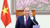 老挝人民革命党中央总书记、政府总理通伦•西苏里和柬埔寨人民党主席、柬埔寨首相洪森与越南政府总理阮春福通电话