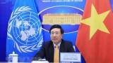 越南政府副总理兼外交部长范平明出席联合国安理会新冠疫苗问题部长级公开会
