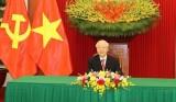 越共中央总书记阮富仲与古巴共产党中央委员会第一书记迪亚斯·卡内尔举行电话会谈